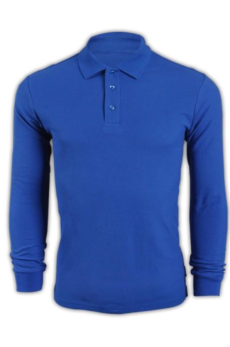 純色 彩藍色094長袖男裝Polo恤 1AD01 來版訂製男裝純色polo恤 DIY polo恤 polo恤生產廠家  Polo恤價格
