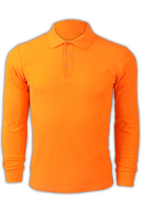 純色 橙黃色047長袖男裝Polo恤 1AD01 定製DIY活力彩色男裝polo恤 透氣運動polo恤 polo恤專門店  Polo恤價格