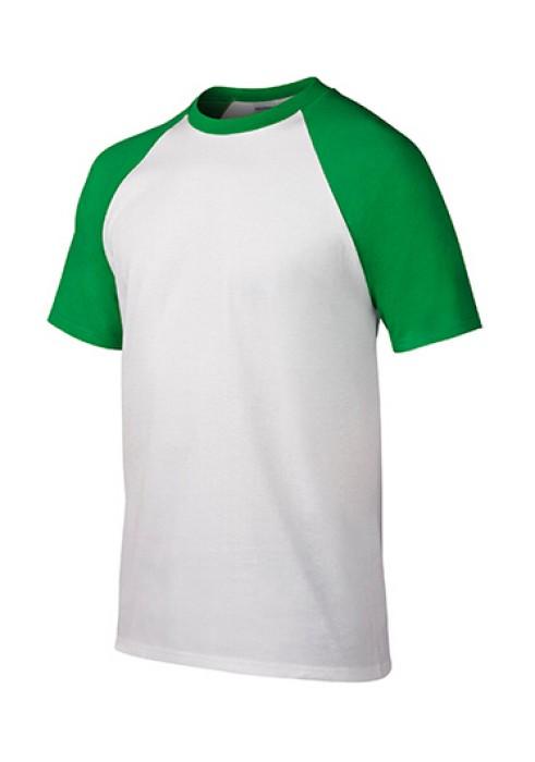 Gildan 白色/綠色FH030短袖男装T恤 76500 撞色顯瘦彈力T恤 透氣T恤 T恤供應商 T恤價格