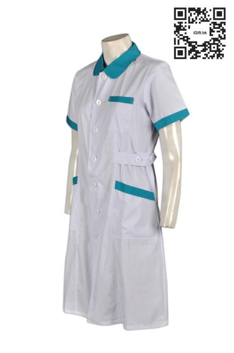 SKNU009 訂購白色診所制服 訂做公主領護士服 醫護人員制服中心 訂製醫院制服公司 訂護士服專門店HK  舒特呢  護士服價格
