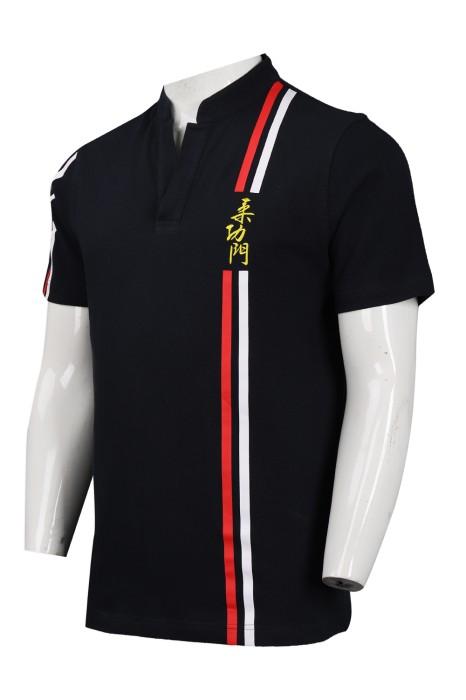 P1002 訂購黑色V領小企領Polo恤 柔道 Polo恤製造商