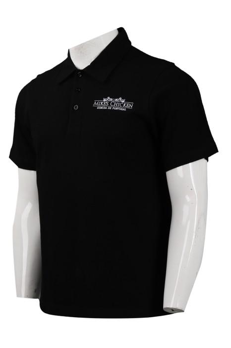 P1010 製作黑色印花Polo恤 澳門 葡國餐廳 制服 Polo恤生產商