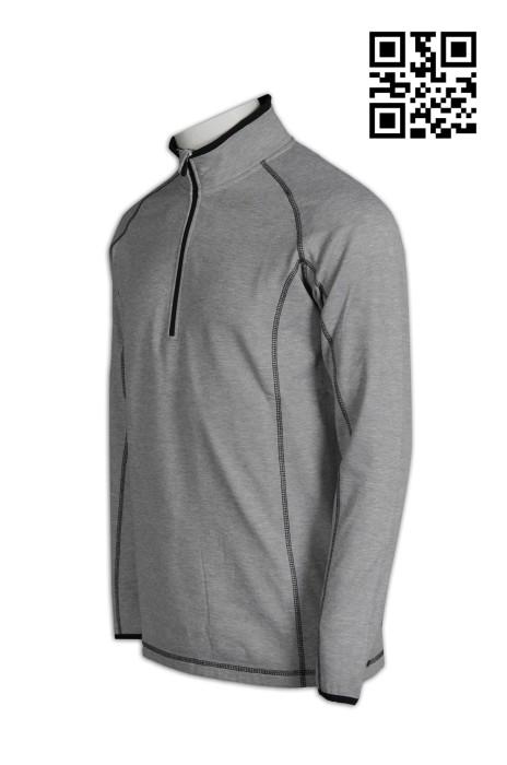 W183自訂大量功能性運動衫  網上下單半胸拉鏈pe 衫 蝦蘇線 長袖企領  訂造功能性運動衫  運動衫供應商