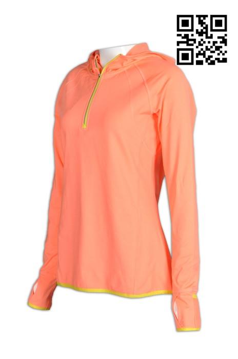 W180製作個人功能性運動衫   設計個人手指公孔運動衫  定購反光撞色胸筒拉鏈女士運動衫  運動衫供應商