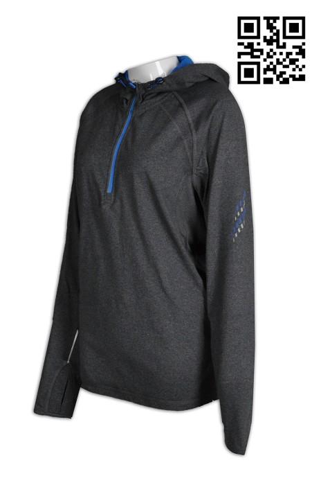 W184 網站訂購女士運動衫 印製撞色帽撞色胸筒拉鏈pe 衫  設計反光手指公孔運動衫  運動衫專門店