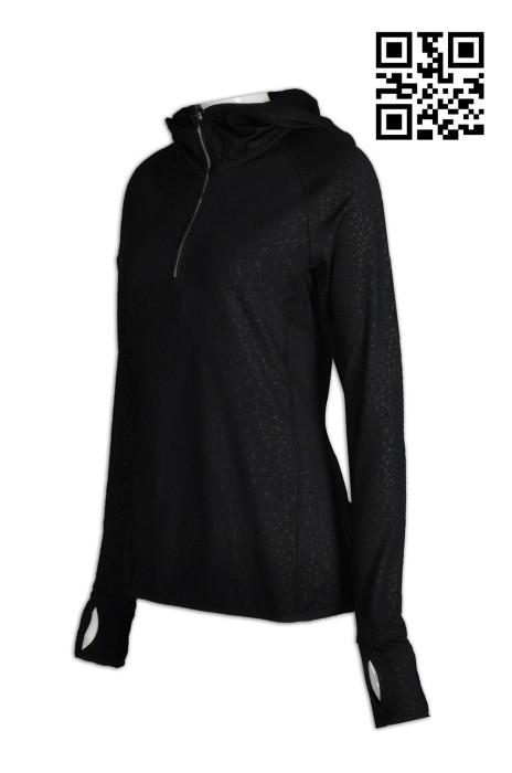 W185自訂修身女士運動衫  來款訂做反光pe 衫  設計手指公孔運動衫  運動衫中心