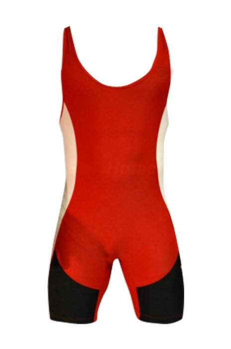 SKTF011 拼色連體摔跤服  健身彈力緊身衣 90%聚酯纖維+10%萊卡  舉重訓練服工廠店