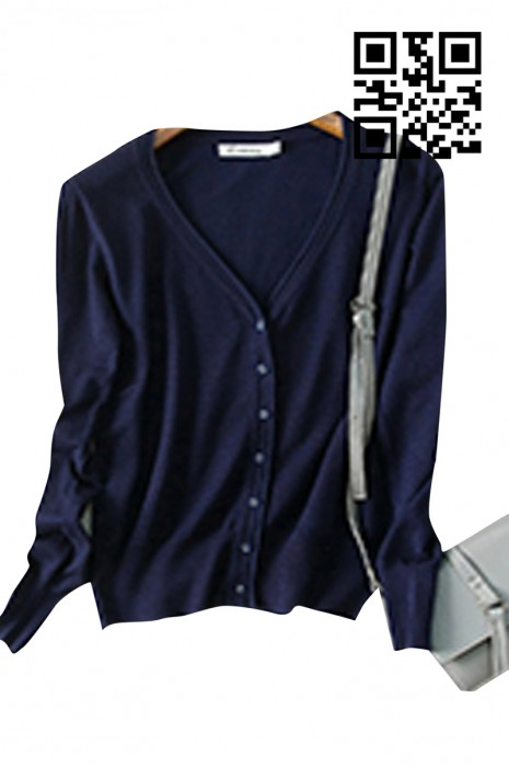 SKSW004 網上下單V領開衫毛衣  訂購純色女款毛衣 製作針織毛衣外套 毛衣專營  毛衣價格
