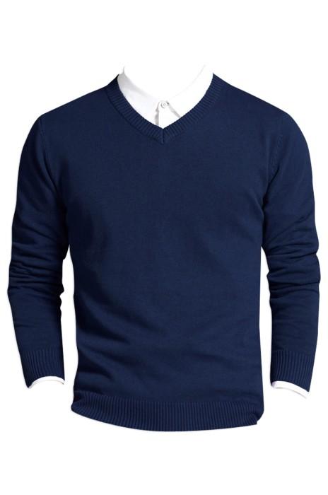 SKSW007  訂購男裝毛衣V領針織衫  純棉純色大碼打底衫  長袖套頭線衫  毛衫製造商 現貨 價格