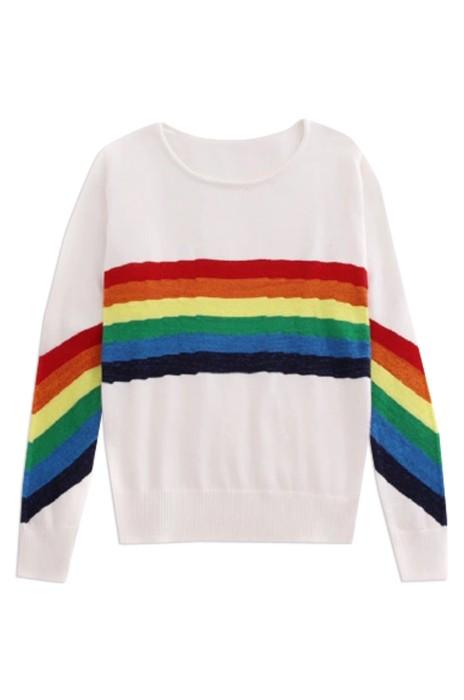 SKSW016  訂購彩虹色條紋針織衫  女短款撞色長袖套頭毛衣  網上下單彩虹紋毛衣 毛衣專門店
