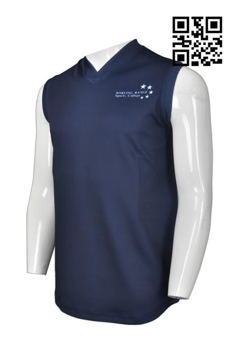 VT152 訂造度身背心款式    製作LOGO背心T恤款式  V領背心 美國運動中小學校  自訂背心T恤款式   T恤生產商