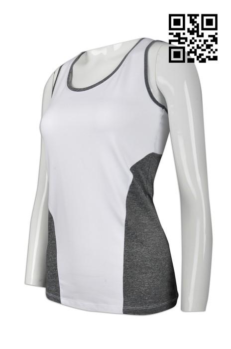VT155  製造度身背心T恤款式    設計女裝背心T恤款式    訂造背心T恤款式   背心中心