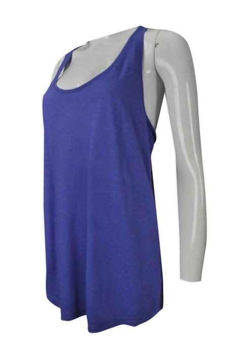 VT166  訂購女款寬鬆背心T恤  設計大碼背心T恤  大領工字 跑步女裝背心 女裝健身背心 製造圓領背心T恤 背心T恤製衣廠