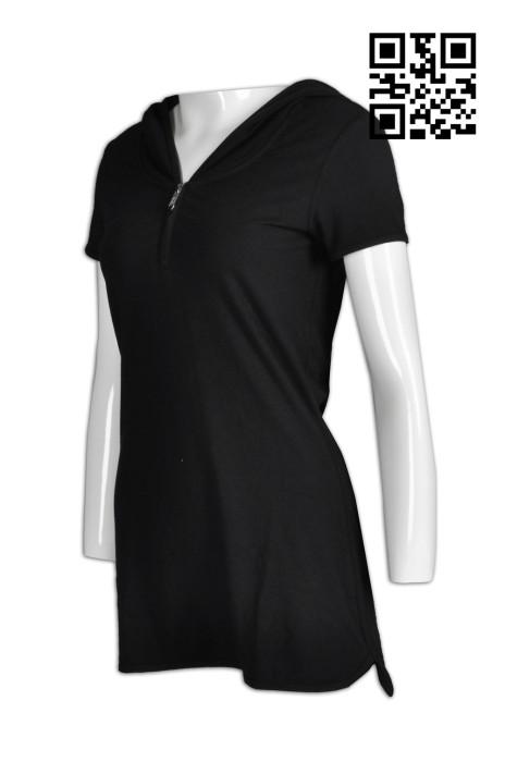 WTV130  設計連帽拉鏈運動裙裝  網球連身裙 羽毛球 女子短袖 網球服 供應金屬拉鏈運動裙裝  製造短袖運動裙裝  運動裝專門店