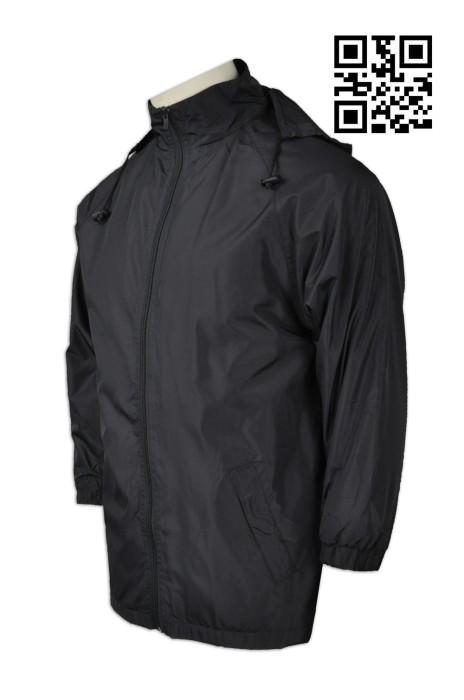 J671 設計純色連帽風褸  網上下單淨色風褸   度身訂造風褸  風褸製衣廠