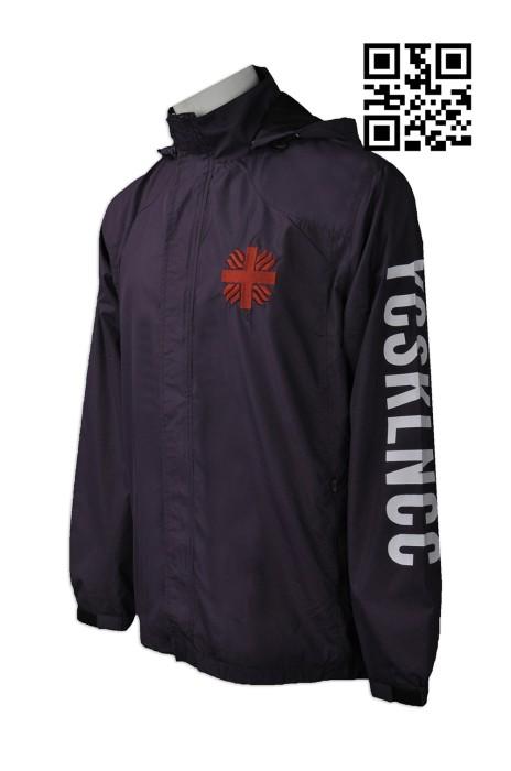 J691  訂製男裝風樓外套款式    製作LOGO風樓款式  明愛九龍社區中心  設計連帽風樓外套款式  風樓外套製衣廠