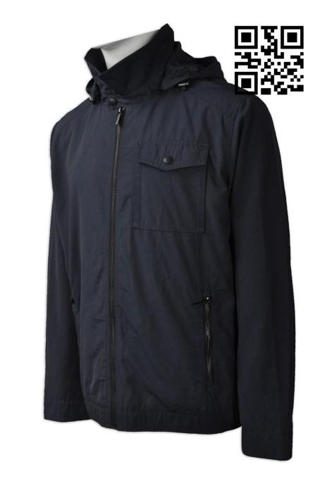 J695 製作淨色風褸外套  訂購連帽風褸外套  袖口拉鍊 領口拉鍊 帽可拆卸拉鍊 度身訂造風褸外套 風褸專營