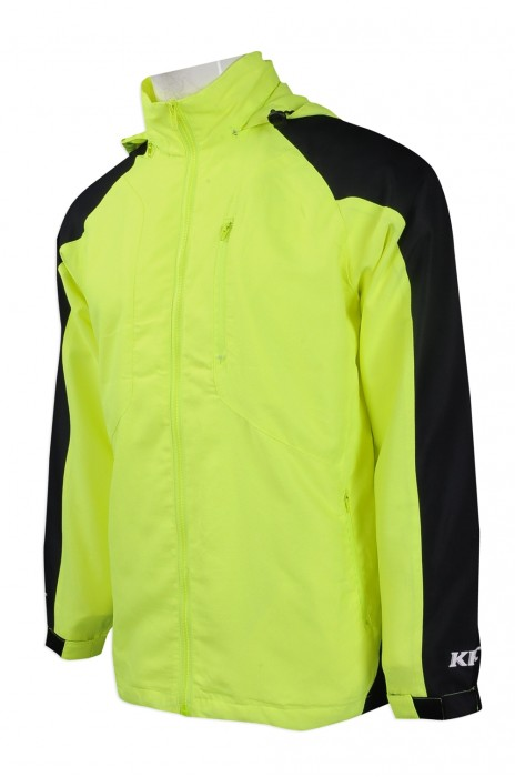J733 團體訂購熒光色風褸外套 設計帶帽款風褸外套 美式快餐 大型食品連鎖店 自訂員工制服風褸外套 製造商