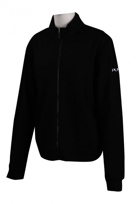 J818 設計女士黑色企領外套 風褸外套專門店