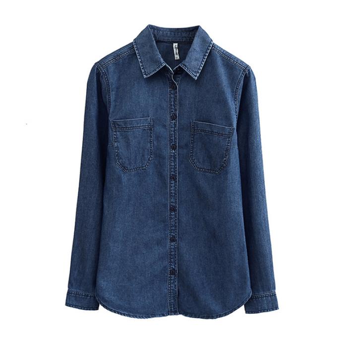 SKJN001 訂購修身顯瘦牛仔衫  設計時尚百搭牛仔襯衫  訂造長袖牛仔襯衫 牛仔衫製衣廠 牛仔衫價格