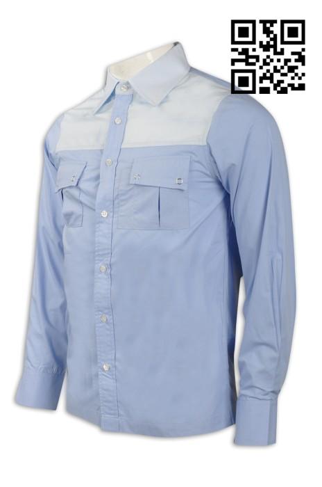 R213 設計度身恤衫款式   訂造男裝恤衫款式  眼鏡零售 視光店服務員制服  自訂恤衫款式   恤衫製衣廠