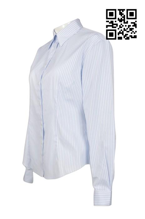 R215  訂做度身恤衫款式   設計條紋恤衫款式    製作女裝恤衫款式   恤衫製衣廠