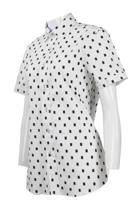 R236 度身訂做修身版女款短袖恤衫 大量訂購女款短袖恤衫 圖紋恤衫 圖案恤衫 恤衫制服公司