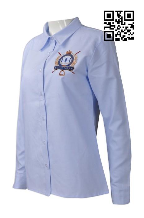 R237  訂造修身女款恤衫   設計繡花logo長袖恤衫  澳洲  HH   牛津紡 中學校服 長袖恤衫製衣廠