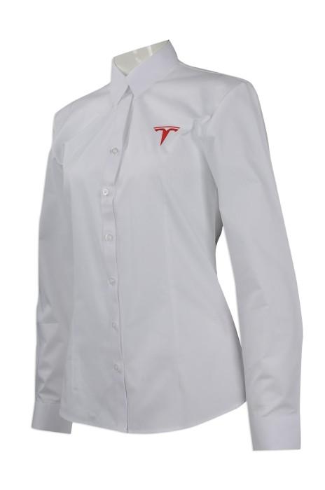 R241 大量訂做修身版長袖恤衫 團體訂做淨色長袖恤衫  電動車 銷售人員制服恤衫制服公司