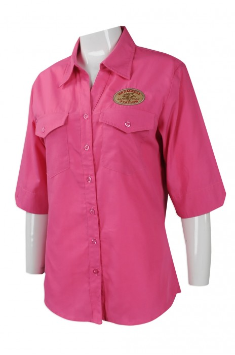 R254 網上下單恤衫款式 團體訂購修身恤衫  3/4 袖長 澳洲 Karen 設計修身恤衫批發商