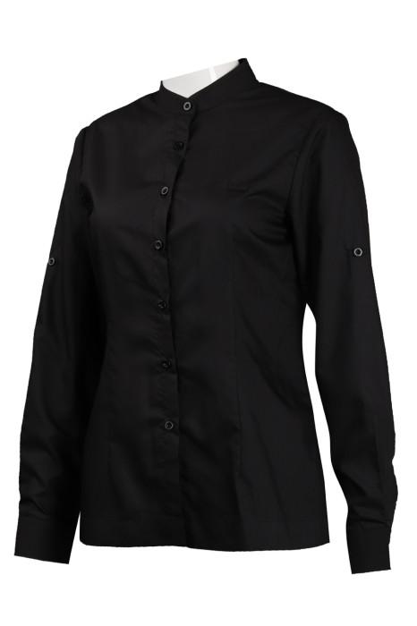 R266 設計黑色長袖恤衫 修身 恤衫製造商