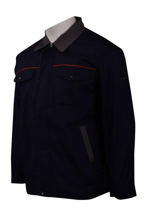 R267 訂做撞色領恤衫 工程制服 拉鍊款 拉鍊唇款 恤衫製衣廠
