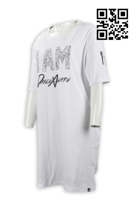 FA321 製作個性女裝T恤款式   訂做LOGOT恤款式  前長後短 跳舞 DANCE隊衫  加長T恤  自訂長款T恤款式    T恤專營