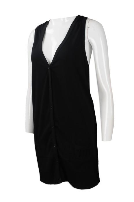 FA346 來樣訂做開胸背心時裝款式 訂造背心長裙時裝款式 DEEP V 背心外套 英國 Maddie 設計時裝款式供應商