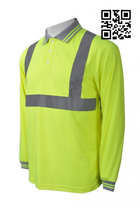 D219  訂造反光螢光黃Polo恤  設計安全長袖工業制服  3M 反光 撞色扁機領 製造反光條工業制服  工業制服製造商
