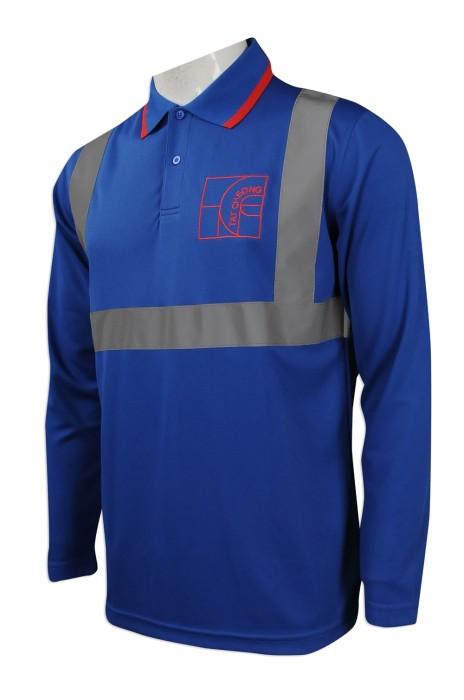 D232 大量訂購長袖工業制服  設計長袖反光帶Polo恤款工業制服 工業制服供應商