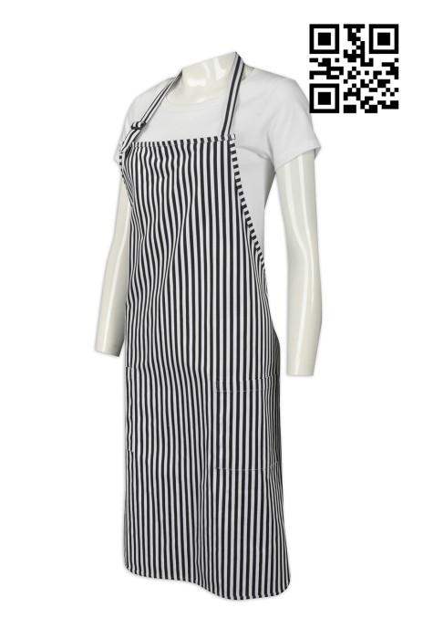 AP080  訂製度身圍裙款式    自訂條紋圍裙款式  黑白間條  製作餐飲圍裙款式   圍裙中心