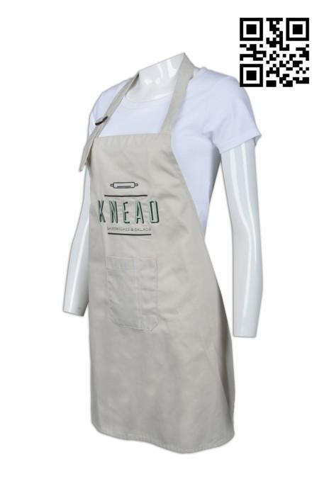 AP081 設計卡其色圍裙  製造家政專用圍裙  烘焙 圍裙 三文治 沙律 可調節頸繩 來樣訂造圍裙  圍裙供應商