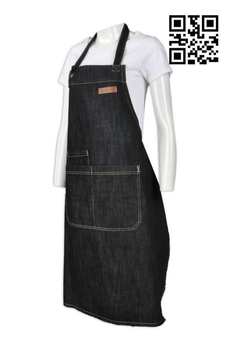AP090  製造牛仔廚房圍裙  訂購全身時尚圍裙 設計西餐廳圍裙 圍裙製衣廠