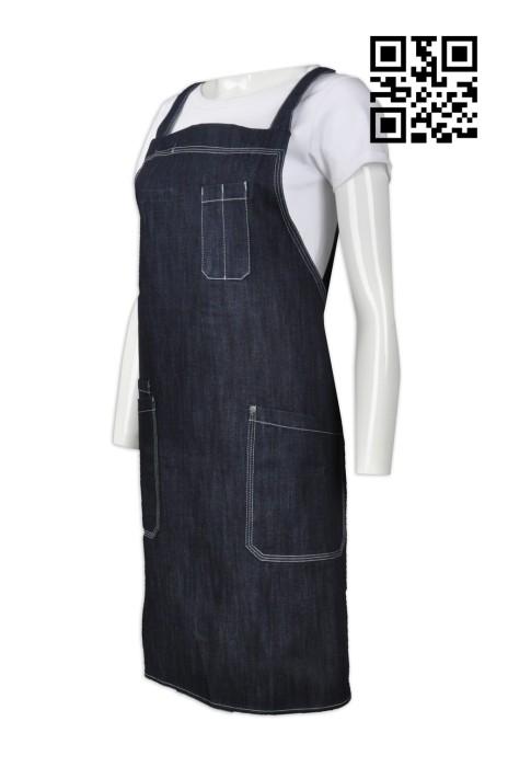 AP091 訂購時尚全身圍裙  製造餐廳牛仔圍裙  訂製廚房專用圍裙 圍裙hk中心