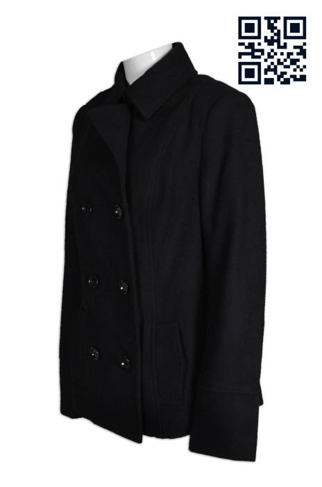 BWS068自訂時尚毛呢外套  訂購個性修身西裝外套女  孖襟 呢絨褸 女款西裝外套哪裡買 西裝製衣廠