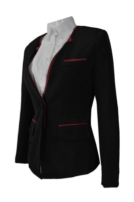 BWS082  設計撞色邊西裝外套  供應修身女西裝  來樣訂造女西裝  女西裝專門店