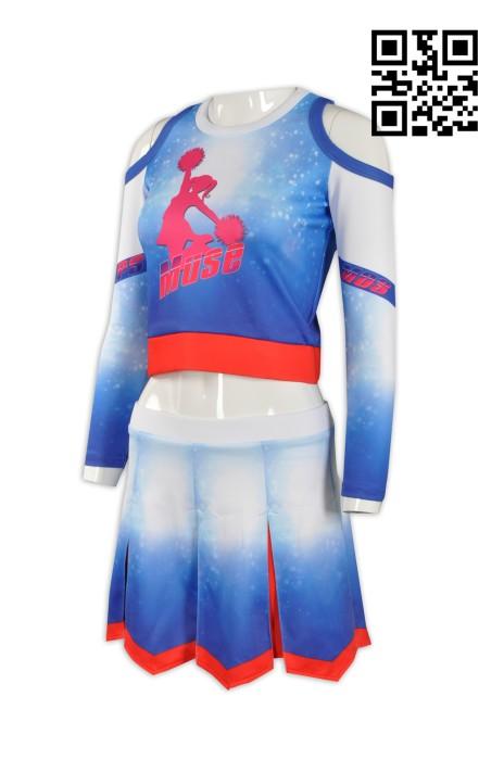 CH138製造長袖啦啦隊服 設計露腰啦啦隊服 訂製專業啦啦隊服 背心+ 裙 百褶裙 啦啦隊服製造商