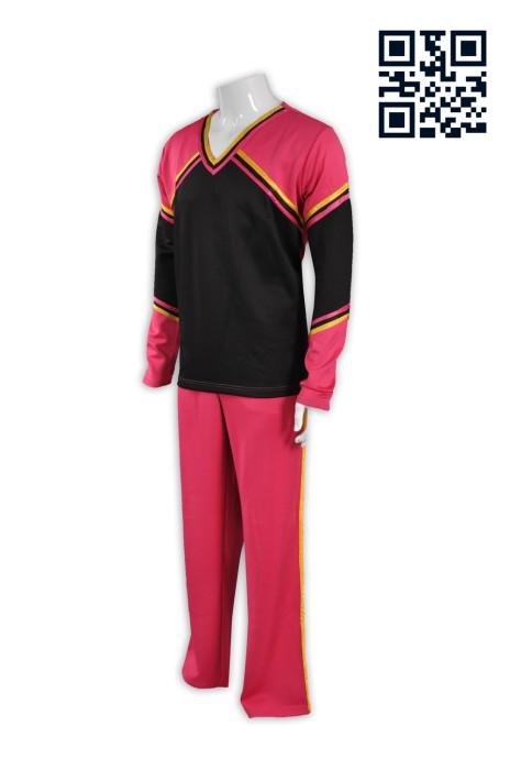 CH142製造拼色啦啦隊服 個人設計啦啦隊服 長袖男裝 網上下單啦啦隊服 啦啦隊服專營hk