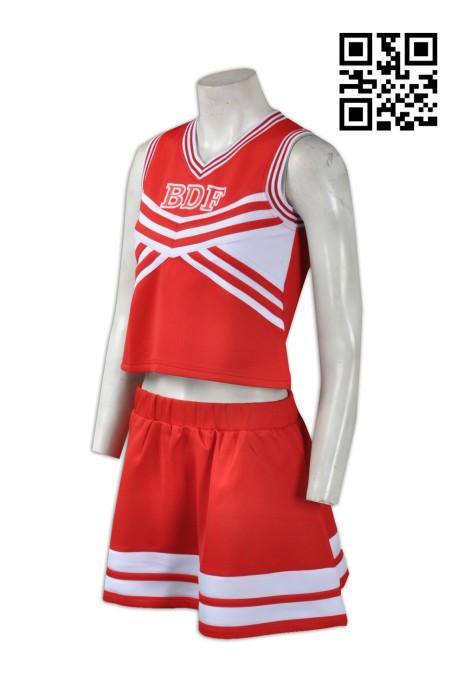 CH143 分體啦啦隊服 設計訂做 性感短款啦啦隊裙 啦啦隊服織帶選擇 啦啦隊服專門店