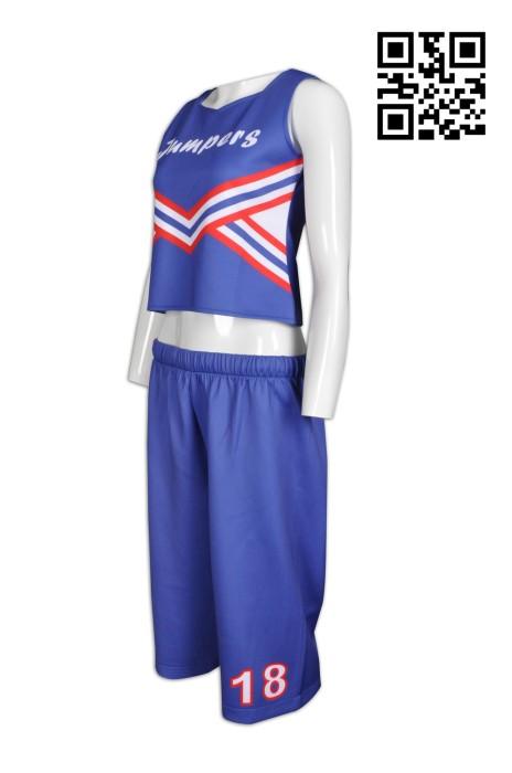 CH145 設計露臍裝啦啦隊服  供應無袖啦啦隊服  訂購褲裝啦啦隊服  啦啦隊服制服公司