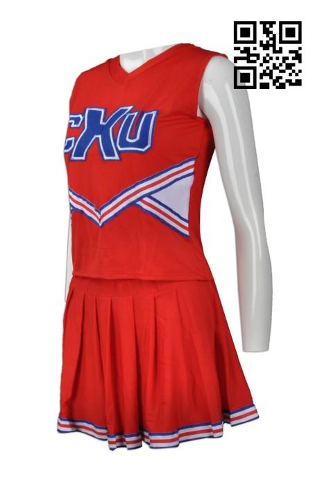 CH153  訂購無袖啦啦隊套裝 設計時尚啦啦隊服 新加坡 大量訂造啦啦隊服 啦啦隊服專門店