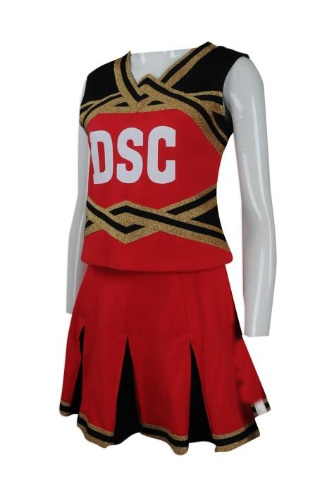 CH170 團體訂做女裝啦啦隊服套裝 訂製燙金款 百褶裙啦啦隊服  香港countney 啦啦隊服專營店