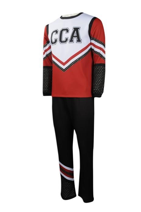 CH180 網上訂購男裝啦啦隊服 大量訂做燙石啦啦隊服款式 閃石 設計套裝啦啦隊服供應商