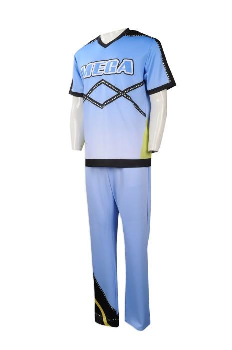 CH181 來樣訂做男裝啦啦隊服 製作套裝啦啦隊服款式 閃石長褲 設計男裝啦啦隊服製衣廠